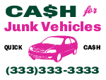 Cash For Junk Vehicles Yard Sign Template