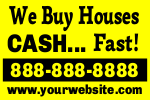 We Buy Houses Cash Yard Sign Template